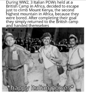 Africa, Bored, and Crazy: During WW2, 3 Italian POWS held at a  British Camp in Africa, decided to escape  just to climb Mount Kenya, the second'  highest mountain in Afríca, because they  were bored. After completing their goal  they simply returned to the British camp  and handed themselves  thappy Italian noises Crazy pizza boys (sauce in comments)