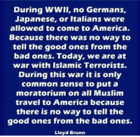 Coming to America: During WWII, no Germans,  Japanese, or Italians were  allowed to come to America.  Because there was no way to  tell the good ones from the  bad ones. Today, we are at  war with Islamic Terrorists.  During this war it is only  common sense to put a  moratorium on all Muslim  travel to America because  there is no way to tell the  good ones from the bad ones.  Lloyd Brunn
