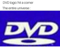 Red, Logo, and Dvd: DVD logo: hit a corner  The entire universe:  De Red used max revive