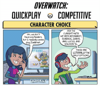 Meme, Memes, and Cartoons: DVERWATAH  OUICKPLAY COMPETITIVE  CHARACTER CHOICE  PER THE  CURRENT META  Hm, we don't  WE NEED REINHARDT,  have any healers,  ROADHOG, ZARYA,  but Ireeeally wanna  ANA, LUCIO, AND  play Junkrat.  SOLDIER 76.  THOSE ARE  CT AHFRD  LITERALLY THE  N  ONLY OPTIONS. Everyone wanted more of the 1 hour in-40 hours in and @dorkly_official did more cartoons with this style, but now with quickplay vs competitive. Enjoy the next couple of posts if you already liked the old ones! Overwatch Overwatchmeme quickplay competetive meme