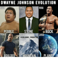 Tag: DWAYNE JOHNSON EVOLUTION  1998  1989  1993  STONE  ROCK  PEBBLE  TODAY  2050  2030  IG: @LEGIONS PRODUCTION Tag