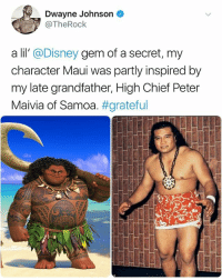 Wow | Follow @aranjevi for more!: Dwayne Johnson  @TheRock  a lil' @Disney gem of a secret, my  character Maui was partly inspired by  my late grandfather, High Chief Peter  Maivia of Samoa·#grateful Wow | Follow @aranjevi for more!