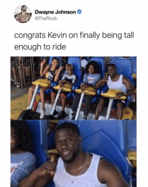 Boom. Roasted. https://t.co/EvU2CrSRva: Dwayne Johnson  @TheRock  congrats Kevin on finally being tall  enough to ride Boom. Roasted. https://t.co/EvU2CrSRva