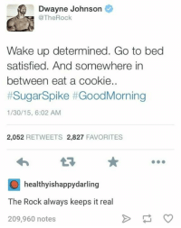 Dwayne Johnson, The Rock, and Sugar: Dwayne Johnson  @TheRock  Wake up determined. Go to bed  satisfied. And somewhere in  between eat a cookie..  #Sugar-Spike #GoodMorning  1/30/15, 6:02 AM  2,052 RETWEETS 2,827 FAVORITES  healthyishappydarling  The Rock always keeps it real  209,960 notes