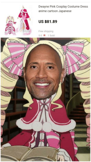 """Anime, The Rock, and Cartoon: Dwayne Pink Cosplay Costume Dress  anime cartoon Japanese  US $81.89  Rolecos  Free shipping  5.0 1 Sold Beatrice """"The Rock"""" Johnson"""