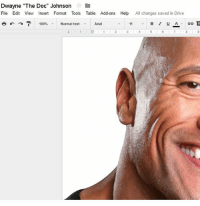 "Anaconda, Memes, and Summer: Dwayne ""The Doc"" Johnson  File Edit View Insert Format Tools Table Add-ons Help  All changes saved in Drive  B I U A  100%  Normal text  Arial ravioli ravioli exams are almost done and im so rdy for this summer"