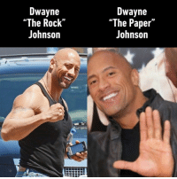 "Rock Johnson: Dwayne  ""The Rock""  Johnson  Dwayne  ""The Paper""  Johnson"