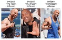 "Memes, The Rock, and Rock: Dwayne  The Rock  Johnson  Dwayne  ""The Paper""  Johnson  Dwayne  The Scissors  Johnso <p>Rock, Paper, Scissors via /r/memes <a href=""https://ift.tt/2GM6Bwk"">https://ift.tt/2GM6Bwk</a></p>"