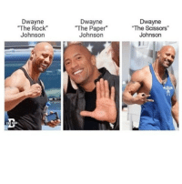"Lol Cr @thedad: Dwayne  The Rock  Johnson  Dwayne  ""The Paper  Johnson  Dwayne  The Scissors  Johnson Lol Cr @thedad"