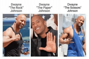 "Rock Johnson: Dwayne  ""The Rock  Johnson  Dwayne  The Paper  Johnson  Dwayne  The Scissors""  Johnson"