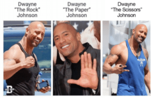 "Rock, Paper, Scissors: Dwayne  The Rock  Johnson  Dwayne  ""The Paper""  Johnson  Dwayne  The Scissors  Johnso Rock, Paper, Scissors"