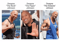 "Gif, The Rock, and Tumblr: Dwayne  ""The Rock""  Johnson  Dwayne  ""The Paper""  Johnsorn  Dwayne  ""The Scissors""  Johnson  THE DAI <figure data-orig-height=""165"" data-orig-width=""220""><img src=""https://78.media.tumblr.com/d574df20706a16026e793d5f3e5b057b/tumblr_og1azmeDmF1u2kv15o1_250.gif"" data-orig-height=""165"" data-orig-width=""220""/></figure>"