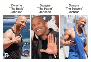 "💔💔💔 (i.redd.it): Dwayne  ""The Rock""  Johnson  Dwayne  ""The Paper""  Johnsorn  Dwayne  ""The Scissors""  Johnson  THE DAI 💔💔💔 (i.redd.it)"