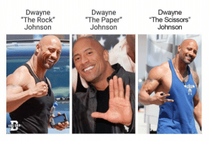 "Rock Johnson: Dwayne  ""The Rock""  Johnson  Dwayne  ""The Paper""  Johnsorn  Dwayne  ""The Scissors""  Johnson  THE DAD"