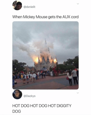 Mickey Mouse, Mouse, and AUX Cord: @dxnielit  When Mickey Mouse gets the AUX cord  @Dazkys  HOT DOG HOT DOG HOT DIGGITY  DOG