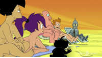The Futurama crew hits a nude beach. Good luck trying to unsee Zoidberg.: DY The Futurama crew hits a nude beach. Good luck trying to unsee Zoidberg.