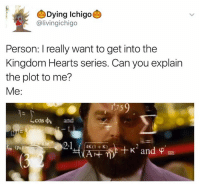 This will take a while to explain. Lol.: Dying Ichigo  alivingichigo  Person: really want to get into the  Kingdom Hearts series. Can you explain  the plot to me?  Me  cos  k  4KOl K)  and This will take a while to explain. Lol.