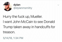 handcuffs: dylan  @dylanmsmitty  Hurry the fuck up, Mueller.  I want John McCain to see Donald  Trump taken away in handcuffs for  treason.  5/14/18, 1:34 PM