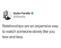 Memes, Relationships, and Watch: Dylan Farella  @dfarella  Relationships are an expensive way  to watch someone slowly like you  less and less.
