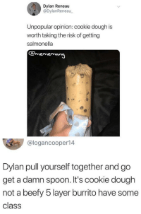 salmonella: Dylan Reneau  @DylanReneau  Unpopular opinion: cookie dough is  worth taking the risk of getting  salmonella  @logancooper14  Dylan pull yourself together and go  get a damn spoon. It's cookie dough  not a beefy 5 layer burrito have some  class