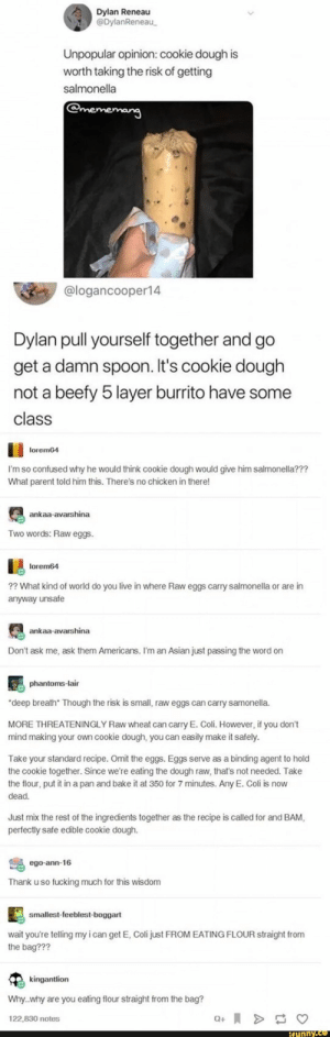 Found on iFunny: Dylan Reneau  @DylanReneau  Unpopular opinion: cookie dough is  worth taking the risk of getting  salmonella  @mememang  @logancooper14  Dylan pull yourself together and go  get a damn spoon. It's cookie dough  not a beefy 5 layer burrito have some  class  lorem64  I'm so confused why he would think cookie dough would give him salmonella???  What parent told him this. There's no chicken in there!  ankaa-avarshina  Two words: Raw eggs.  lorem64  2? What kind of world do you live in where Raw eggs carry salmonella or are in  anyway unsafe  ankaa-avarshina  Don't ask me, ask them Americans. I'm an Asian just passing the word on  phantoms-lair  deep breath Though the risk is small, raw eggs can carry samonella.  MORE THREATENINGLY Raw wheat can carry E. Coli. However, if you don't  mind making your own cookie dough, you can easily make it safely.  Take your standard recipe. Omit the eggs. Eggs serve as a binding agent to hold  the cookie together. Since we're eating the dough raw, that's not needed. Take  the flour, put it in a pan and bake it at 350 for 7 minutes. Any E. Coli is now  dead.  Just mix the rest of the ingredients together as the recipe is called for and BAM,  perfectly safe edible cookie dough.  ego-ann-16  Thank u so fucking much for this wisdom  smallest-feeblest-boggart  wait you're telling my i can get E, Coli just FROM EATING FLOUR straight from  the bag???  kingantlion  Why.why are you eating flour straight from the bag?  122,830 notes  Q+  ifunny.ce Found on iFunny
