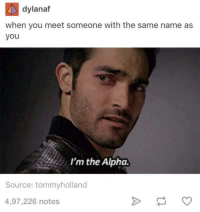 Dank, 🤖, and Alphas: dylanaf  when you meet someone with the same name as  you  I'm the Alpha.  Source: tommyholland  4,97,226 notes