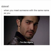Humans of Tumblr, Alphas, and Alpha: dylanaf:  when you meet someone with the same name  as you  I'm the Alpha.