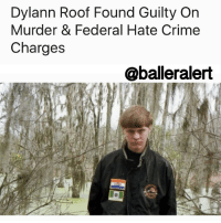 "Baller Alert, Church, and Crime: Dylann Roof Found Guilty On  Murder & Federal Hate Crime  Charges  @baller alert Dylann Roof Found Guilty On Murder & Federal Hate Crime Charges - blogged by: @eleven8 - ⠀⠀⠀⠀⠀⠀⠀⠀⠀ ⠀⠀⠀⠀⠀⠀⠀⠀⠀ 22 year old DylannRoof, the man responsible for killing nine black worshipers in a Charleston church in 2015, has been found guilty of his crimes. ⠀⠀⠀⠀⠀⠀⠀⠀⠀ ⠀⠀⠀⠀⠀⠀⠀⠀⠀ Despite admitting to killing the church members in a video taped confession, Dylann Roof plead not guilty to all charges. After two hours of deliberation, a 12 – member jury found Roof guilty of 33 federal charges which include 9 counts of use of a firearm to commit murder during and in relation to a crime of violence, 9 counts of obstruction of exercise of religion resulting in death, 9 counts of violating the Hate Crime Act resulting in death, 3 counts of violating the Hate Crime Act involving an attempt to kill, and 3 counts of obstruction of exercise of religion involving an attempt to kill and use of a dangerous weapon. ⠀⠀⠀⠀⠀⠀⠀⠀⠀ ⠀⠀⠀⠀⠀⠀⠀⠀⠀ The same 12-member jury will be responsible for determining Roof's sentencing. He will either receive life in prison or the death penalty. Roof also faces a separate murder trial where he has been charged with 9 counts of murder and other charges in the state court system. His trial in that case is scheduled to start in January. ⠀⠀⠀⠀⠀⠀⠀⠀⠀ ⠀⠀⠀⠀⠀⠀⠀⠀⠀ ""He needs to be held accountable for every bullet,"" Assistant U.S. Attorney Nathan Williams told the jury Thursday. ""The parishioners could not have seen the hatred in his heart. He sat and waited until they were at their most vulnerable."""