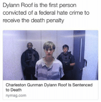 Crime, Haircut, and Memes: Dylann Roof is the first person  convicted of a federal hate crime to  receive the death penalty  Charleston Gunman Dylann Roof ls Sentenced  to Death  nymag.com Good. F🇺🇸ck that racist piece of trash. Rot in Hell. And get a haircut. . . Merica RotInHell DylannRoof Racist Haircut