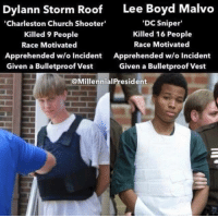 <p>Please do not add to the already massive tensions with half-truths and misrepresentations.</p>: Dylann Storm Roof  Lee Boyd Malvo  Charleston Church Shooter  Killed 9 People  Race Motivated  Apprehended w/o Incident  Given a Bulletproof Vest  DC Sniper  Killed 16 People  Race Motivated  Apprehended w/o Incident  Given a Bulletproof Vest  @MillennialPresident <p>Please do not add to the already massive tensions with half-truths and misrepresentations.</p>