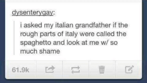 Italy, Rough, and Shame: dysentergay:  i asked my italian grandfather if the  rough parts of italy were called the  spaghetto and look at me w/ so  much shame  61.9k