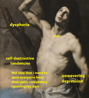 imstraightedge:  imstraightedge:here's 2:14 AM EST's mood While it's comforting to see in the tags how relatable this is, to know I'm not alone in these feelings, I'm sorry all of you hurt too.: dysphoria  me  self-destructive  tendencies  the idea that i need to  save everyone from  their pain, completely  ghoring my own  unwavering  depression imstraightedge:  imstraightedge:here's 2:14 AM EST's mood While it's comforting to see in the tags how relatable this is, to know I'm not alone in these feelings, I'm sorry all of you hurt too.
