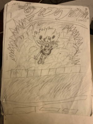 Back in elementary school I used to draw comic books about a super hero named Ju Ju Justin! I was cleaning out my room at my dads when I stumbled upon my old archive, so I thought I'd share! :): e.25  toncs Back in elementary school I used to draw comic books about a super hero named Ju Ju Justin! I was cleaning out my room at my dads when I stumbled upon my old archive, so I thought I'd share! :)