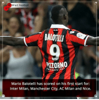 Did you know that? Follow @football_tab for the best football jokes 👥⚽️: e 8Fact Football  BALOTELLI  NE  Mario Balotelli has scored on his first start for:  Inter Milan, Manchester City, AC Milan and Nice. Did you know that? Follow @football_tab for the best football jokes 👥⚽️