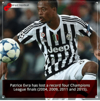 Did you know that?: e 8Fact Football  Jeep  Patrice Evra has lost a record four Champions  League finals (2004, 2009, 2011 and 2015). Did you know that?
