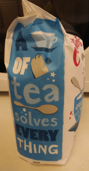 Tea, Spoon, and Everything: e a  olves  HING  5001207 A cup of teabag tea spoon solves everything