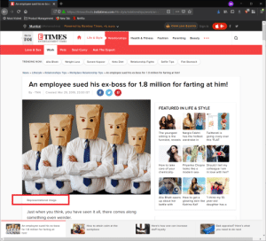 Bad, Crazy, and Fashion: E An employee sued his ex-boss +  https://timesofindia.indiatimes.com/life-style/relationships/work/an  Most Visited Product Management New Tab Netflix  Q  Mumbai  (Maharashtra) Powered by Bombay Times, +5 more  Claim your 6 points Sign In C  f  Go to  TOI  Life & Style  Relationships  Health & Fitness Fashion Parenting Beauty  ENTERTAINMENT TIMES  Love & Sex  Work  Pets  Soul CurryAsk The Expert  TRENDING NOW:  Alia Bhatt  Weight Loss  Sonam Kapoor  Keto Diet  Relationship Fights  Selfie Tips  Flat Stomach  News Lifestyle Relationships Tips Workplace Relationship Tips An employee sued his ex-boss for 1.8 million for farting at him!  An employee sued his ex-boss for 1.8 million for farting at him!  By- TNN Created: Mar 29, 2019, 23:00 IST  ay- THN Created, Mar 29,2019, 23:00 IST  FEATURED IN LIFE & STYLE  The youngest Nargis Fakhri Twitterati is  sibling is the as the hottest going crazy over  funniost, revesals wardrobe ini HIAI  this 'FLAT  How to take  care of your  chemically-  Priyanka Chopra Should I tell my  looks like a  modern sea in love with her?  colleague I am  Alia Bhatt opens How to get a think my 10-  up about her glowing skin like year-old  battle with  Representational image  Katrina Kaif  daughter has a  Just when you think, you have seen it all, there comes along  something even weirder.  An employee sued his ex-boss  for 1.8 million for farting at  Bad appraisal? Here's what  you need to do next  How to attain calm at the  Here's how one can increase  workplace  staff loyalty Employee sues ex-boss for farting at him.