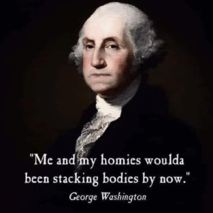 Bodies , Memes, and George Washington: e and my homies woulda  been stacking bodies by now  George Washington tru dat...