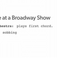 Memes, 🤖, and Broadway: e at a Broadway Show  hestra plays first chord  sobbing This struck a chord.
