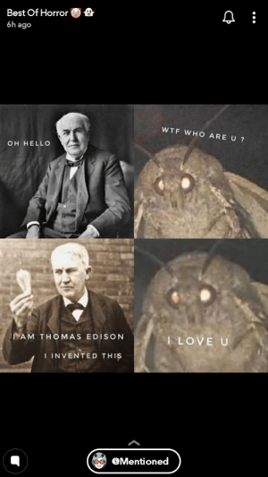 I thought we buried moth memes with 2018: e  Best Of Horror  6h ago  WTF WH O ARE U ?  OH HELLO  I LOVE U  IAM THOMAS EDISON  I INVENTED THIS  @Mentioned I thought we buried moth memes with 2018