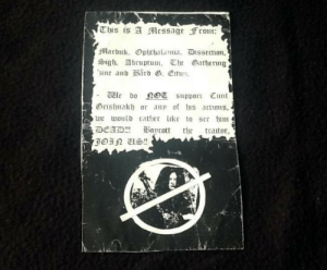 Tumblr, Blog, and Cunt: e bo support Cunt  Orisha or a o s acons,  we toulb rather lc to see theashenone:  fuckyeahblackmetaldesigns:Anti Burzum flyer Both Mayhem and Burzum acted poorly in that situation but still.