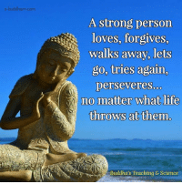 Buddhism: e-buddhism com  A strong person  loves, forgives,  walks away, lets  go, tries again.  perseveres.  no matter what life  throws at them  Buddha's Teaching & Science