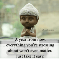 Buddhism: e-buddhism com  A year from now,  everything you're stressing  about won't even matter.  Just take it easy.