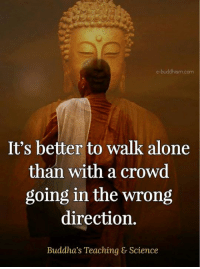 Buddhism: e-buddhism com  It's better to walk alone  than with a crowd  going in the wrong  direction.  Buddha's Teaching & Science
