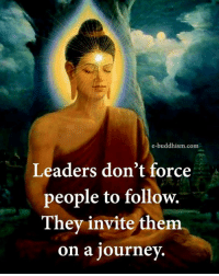 Buddhism: e-buddhism com  Leaders don't force  people to follow.  They invite them  on a journey.