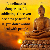 Memes, Science, and Buddhism: e-buddhism com  Loneliness is  dangerous. It's  addicting. Once you  see how peaceful it  is, you don't wanna  deal with people  Buddha's Teaching & Science
