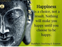 Buddhism: e-buddhism  Happiness  is a choice, not a  result. Nothing  will make you  happy until you  choose to be  happy.  Buddha's Teaching & Science