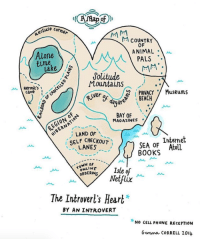 reception: e cotner  M COUNTRY  OF  ANIMAL .  Alone  time  lake  1 PALS  Solitude  Mountains  Hermit's  PRIVACY Museums  SEACA  caveN  er of day  r  BAY OF  MAGAZINES .  EGIONO  ; LAND OF  SELF CHECKOUT  LANES  Internet  SEA OF Atoll  BOOKS  TOWN oF  ORDERING  Netflix  The Introverl's Heart*  BY AN INTROVERT  NO CELL PHONE RECEPTION  Gemma cORRELL 201