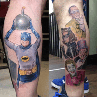 Afternoon Gothamites and welcome to this week's edition of NerdyTatsFriday! In light of the newest (and pretty fun) Instagram update, please swipe the post to see this week's tattoos showcase from: @DrCran1 with his vibrantly amazing Batman '66 tattoo inked by @Davidcorden, @Frankenstein.21 with their Heath Ledger Joker tat, @Saveyourselfheart with their abstract Dark Knight Trilogy logo, @MikeAce21's awesome Batman tat, @Dempa118's Batman Arkham game series leg tattoo, @WillBruceArt's colorful Caped Crusader sleeve by artist @Nicolepalapoli, @Nermzrvs_2's Joker inspired body art, @Nikkitaellenxo with their Harley Quinn and Joker tattoo, @Ty_bandy's Batman logo chest tat and @Yung.kendall's Injustice Catwoman tattoo! Thanks to you Gothamites for participating in this week's showcase! If you have DM'ed your tattoos but haven't seen it yet, please EMAIL ME your tattoos at HistoryoftheBatman[@]gmail.com! It will be part of our nerdy tattoos sessions in the following Fridays! Thanks for following and we'll have more History of the Batman soon! ✌🏼❤🎨: e, e Afternoon Gothamites and welcome to this week's edition of NerdyTatsFriday! In light of the newest (and pretty fun) Instagram update, please swipe the post to see this week's tattoos showcase from: @DrCran1 with his vibrantly amazing Batman '66 tattoo inked by @Davidcorden, @Frankenstein.21 with their Heath Ledger Joker tat, @Saveyourselfheart with their abstract Dark Knight Trilogy logo, @MikeAce21's awesome Batman tat, @Dempa118's Batman Arkham game series leg tattoo, @WillBruceArt's colorful Caped Crusader sleeve by artist @Nicolepalapoli, @Nermzrvs_2's Joker inspired body art, @Nikkitaellenxo with their Harley Quinn and Joker tattoo, @Ty_bandy's Batman logo chest tat and @Yung.kendall's Injustice Catwoman tattoo! Thanks to you Gothamites for participating in this week's showcase! If you have DM'ed your tattoos but haven't seen it yet, please EMAIL ME your tattoos at HistoryoftheBatman[@]gmail.com! It will be part of