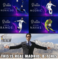 Memes, Champions League, and Ronaldo: E F  CHAMPIONS LEAGUE  FORWARD  E F  CHAMPIONS LEAGUE  MIDFIELDER  mitates  OF THE SEASON 201718  OF THE SEASON 2017/18  CRISTIANO  LUKA  RONALDO  MODRIC  E F  CHAMPIONS LEAGUE  DEFENDER  E F  CHAMPIONS LEAGUE  GOALKEEPER  OF THE SEASON 2017/  OF THE SEASON 2017/18  SERGIO  KEYLOR  RAMO S  NAVA S  REAL  THIS IS REAL MAPRDAB* TCHES
